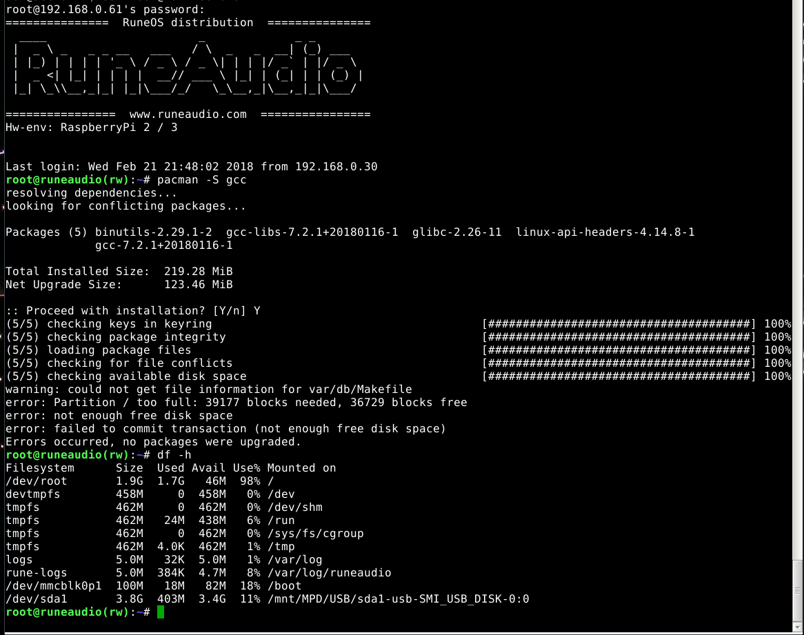 Rasperri Pi + Runeaudio + LCD I2C 2004 20x4 : Raspberry Pi